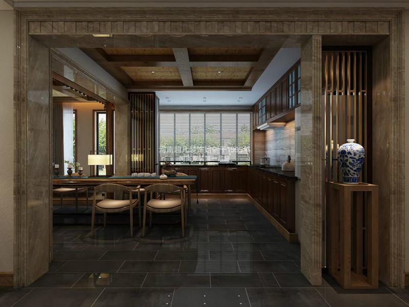 四居室 华润悦府 小资 新中式风格 现代中式 厨房图片来自郑州最好的装修公司-河南超凡在华润悦府170平户型装修效果图的分享