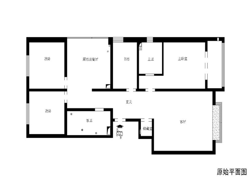 三居 白领 收纳 80后 小资 户型图图片来自实创装饰完美家装在富丽花园146平简欧风格设计风格的分享