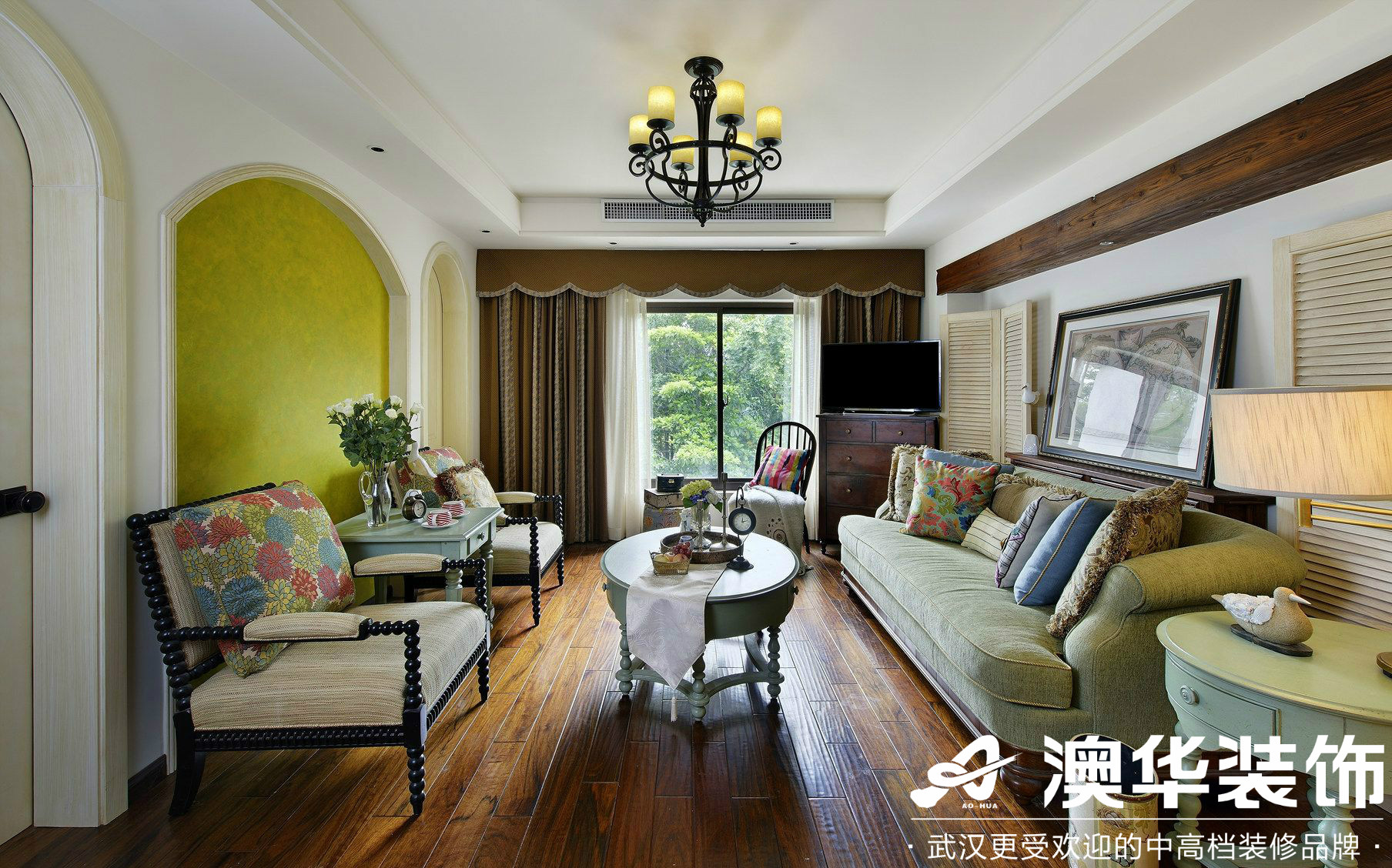 客厅图片来自澳华装饰有限公司在世茂锦绣长江·美式风格的分享