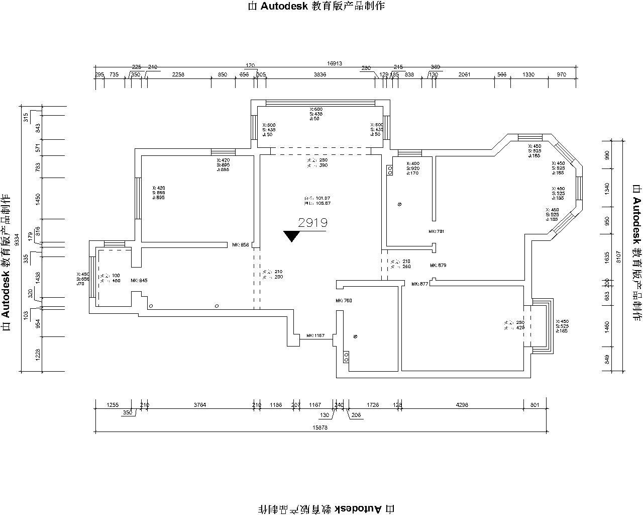 三居 现代 户型图图片来自哈尔滨实创装饰阿娇在群力观江国际134平现代简约三居的分享