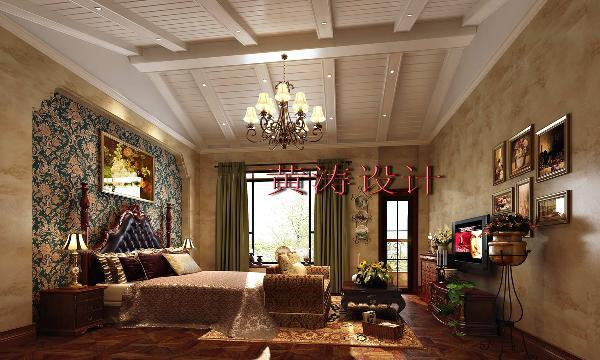 成都雅居乐460平米别墅美式风格装修设计案例——主卧设计效果 作为主人的私密空间,主要以功能性和实用舒适为考虑的重点,主人房的色彩搭配大胆使用了国内设计师不敢尝试的墨绿色