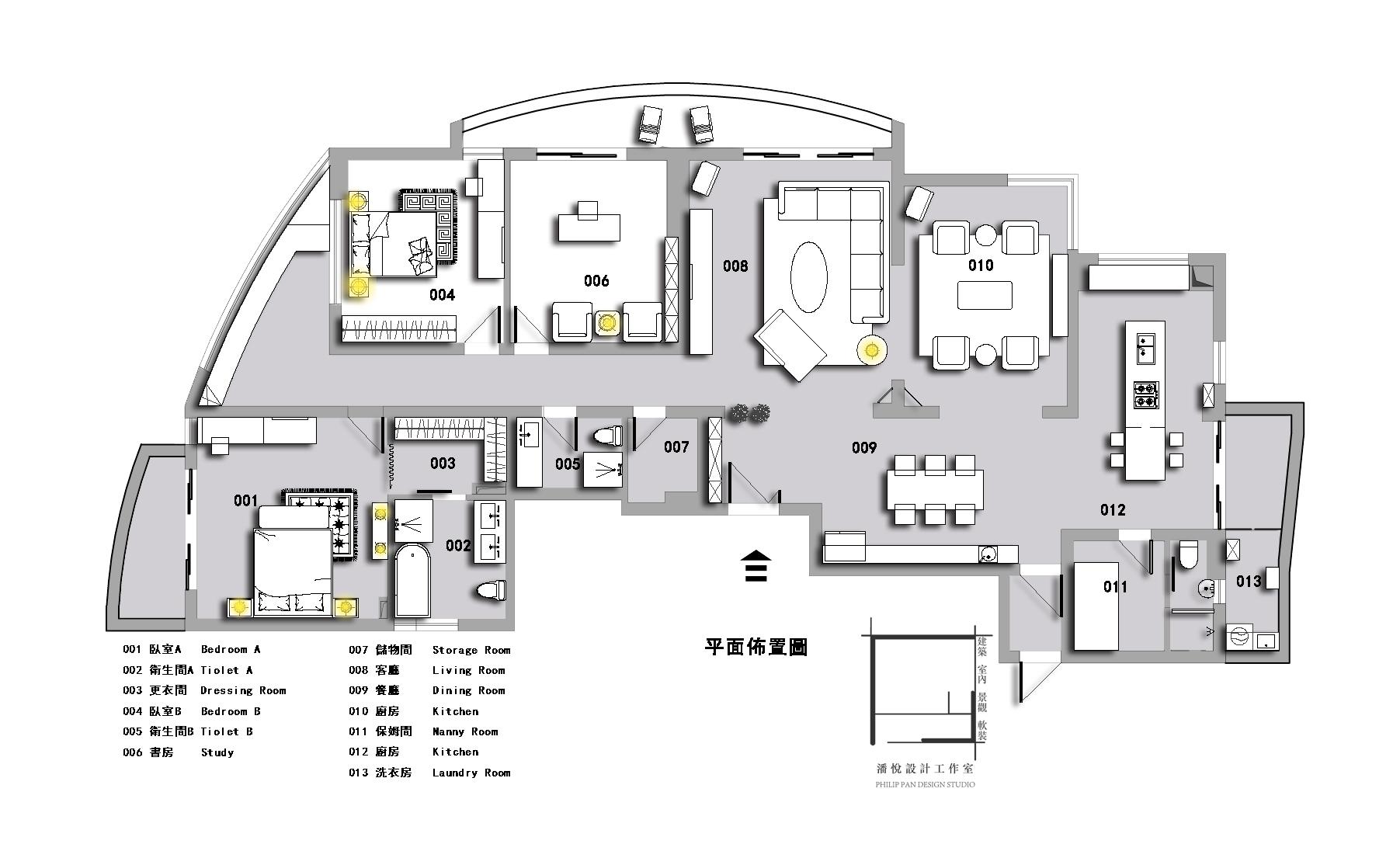 平面布置图图片来自潘悦设计事务所在黑白·靈動-上海靜鼎安邦公寓的分享