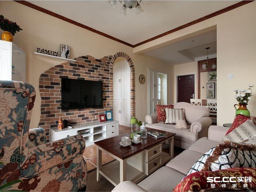 简约 美式 二居 客厅图片来自实创装饰上海公司在上海御景华庭两居90㎡混搭的分享