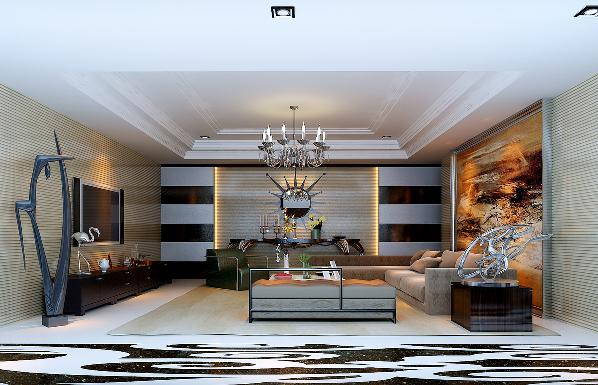 客厅:整体的奢华设计,简单中体现去和谐美,让人舒适的归于平静。餐厅:简单大气的造型和家具,凸显去设计的含义。