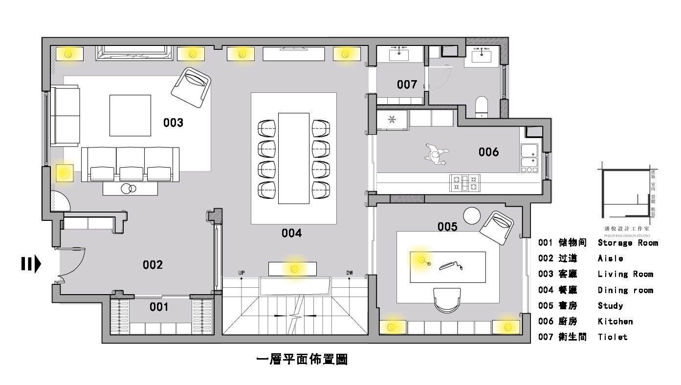 一层平面图片来自潘悦设计事务所在品味·歐風-上海復地香梔花園的分享