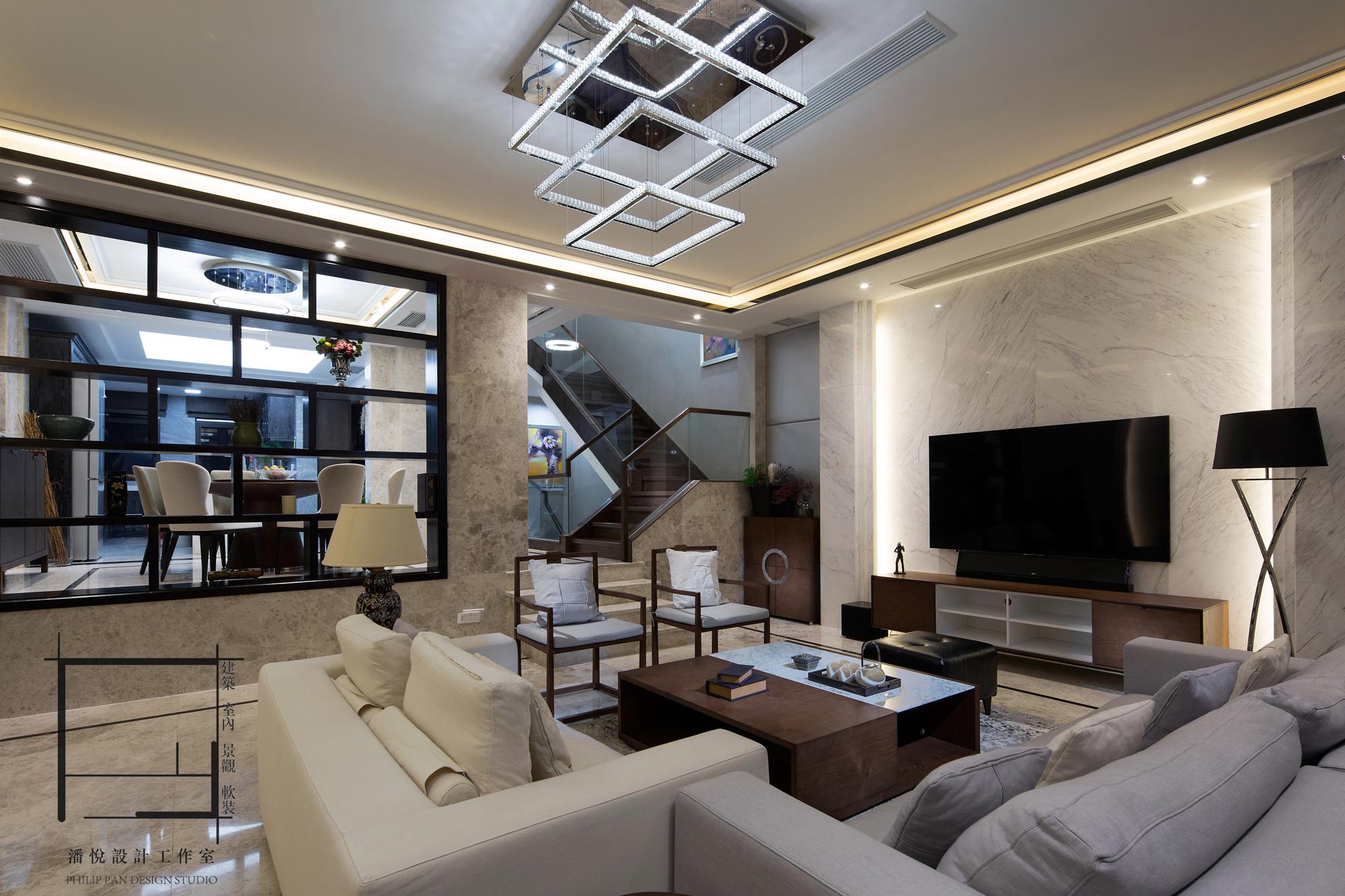 简约 混搭 别墅 客厅图片来自潘悦设计事务所在雅舍·靜生活-常熟信壹景天花園的分享
