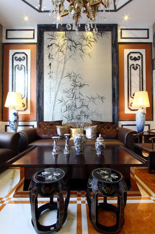 简约 欧式 田园 混搭 二居 三居 别墅 收纳 旧房改造 客厅图片来自紫禁尚品国际装饰高晓媛在稳重奢华的中式风格的分享