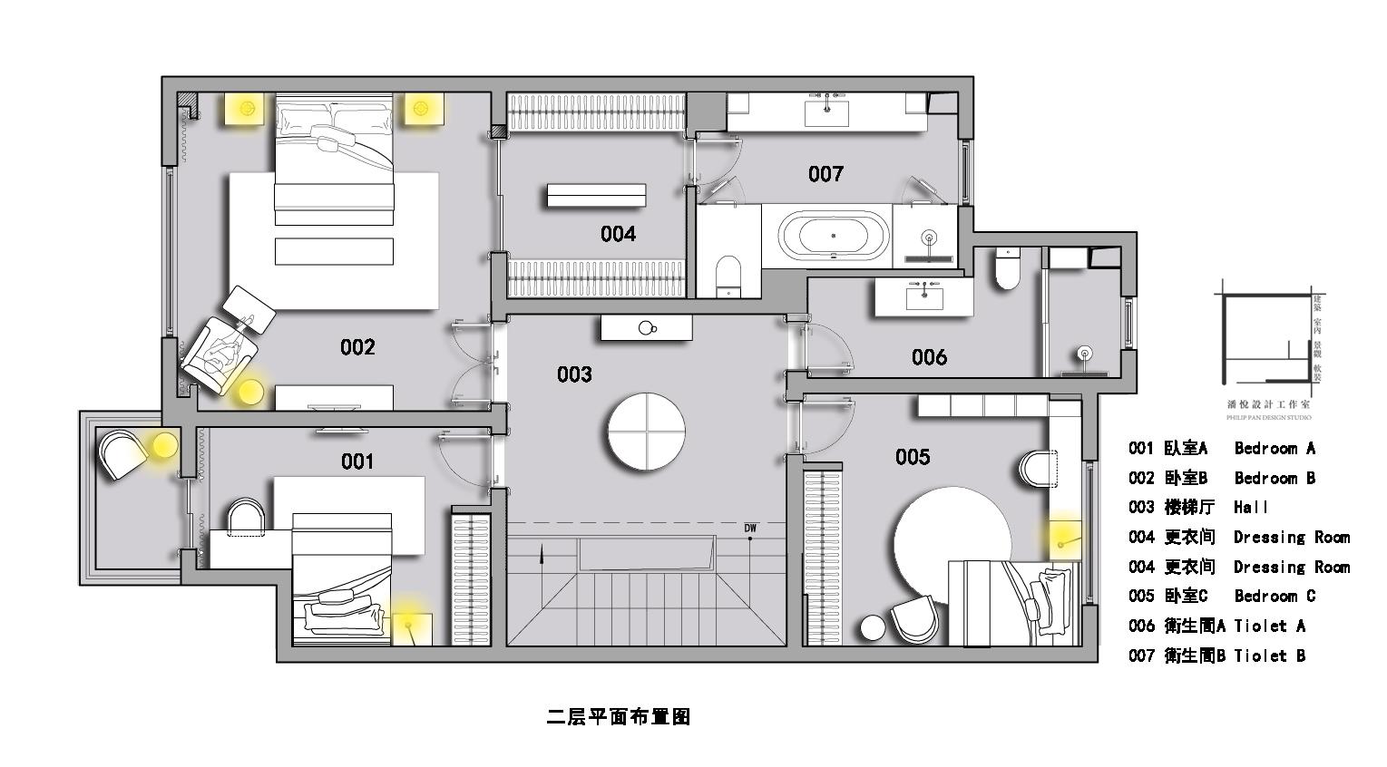 二层平面图片来自潘悦设计事务所在品味·歐風-上海復地香梔花園的分享