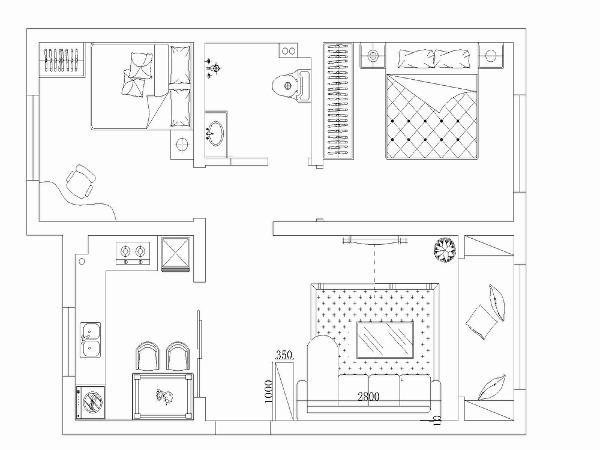 此户型是一个两室一厅一厨一卫的户型,入户右手是一个鞋柜,客厅是一个白色的L型布艺沙发,阳台是一个榻榻米式的台面,两侧是书柜。