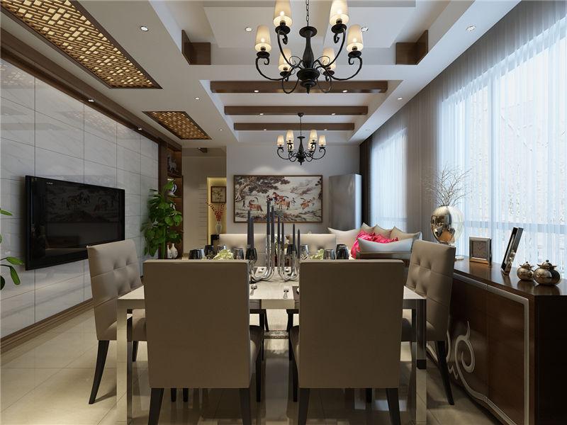 现代 中式 二居 餐厅图片来自居然元洲装饰小杨在富力又一城二居现代中式风的分享