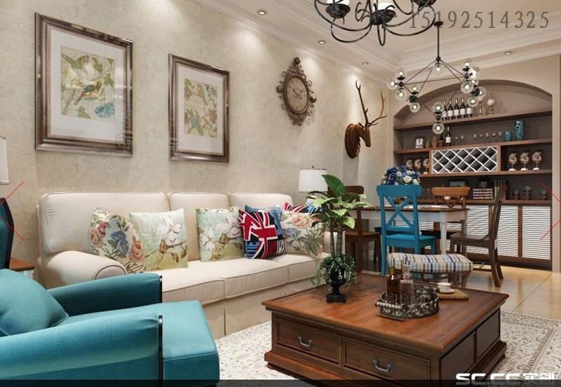 二居 美式 客厅图片来自快乐彩在花半里欣苑70平小套二装修美式的分享