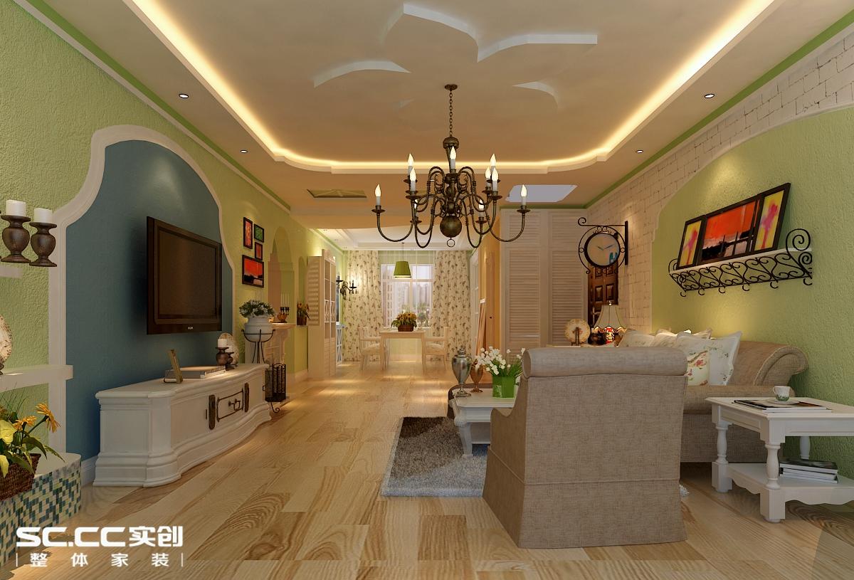 三居 田园 客厅图片来自哈尔滨实创装饰阿娇在海富金棕榈150平田园风格三居的分享