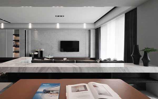 简约 二居 客厅图片来自上海潮心装潢设计有限公司在96平简约二居室装增色空间层次的分享