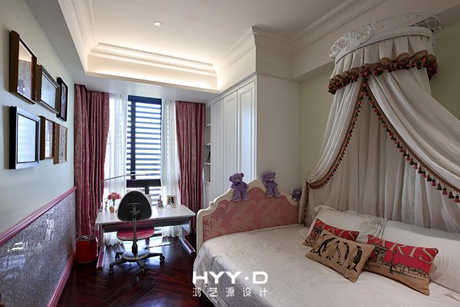 女孩房 卧室图片来自郑鸿设计师在御墅临风--卓越维港名苑室内设计的分享