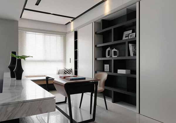 简约 二居 书房图片来自上海潮心装潢设计有限公司在96平简约二居室装增色空间层次的分享