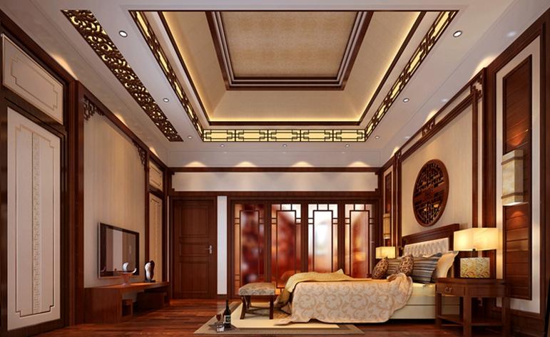中式 典雅 四居 卧室图片来自惠州居众装饰在方直·珑湖湾-中式风格-240㎡的分享
