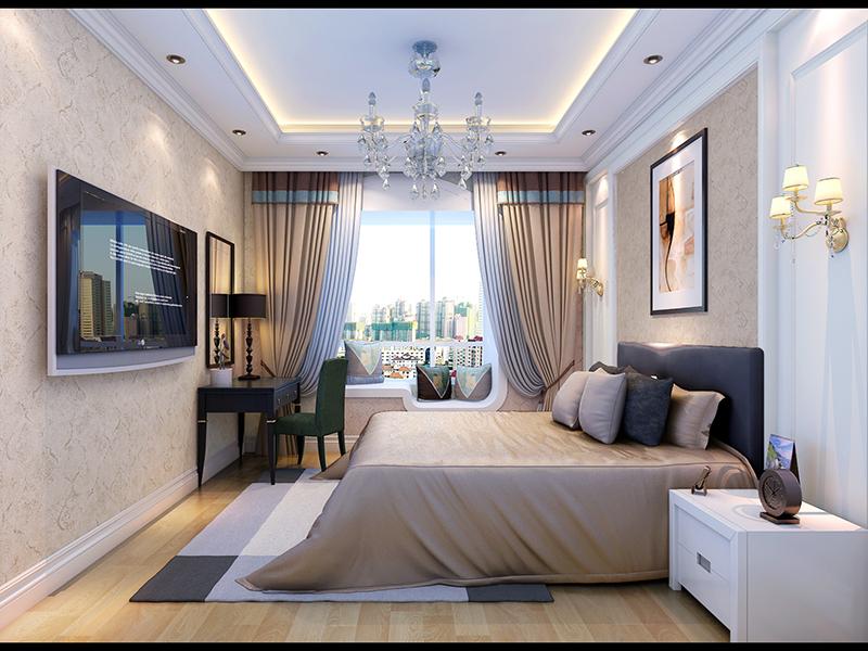 中铁国际城 地中海风格 三居室 装修设计 卧室图片来自业之峰装饰旗舰店在海岸边明媚的气息的分享