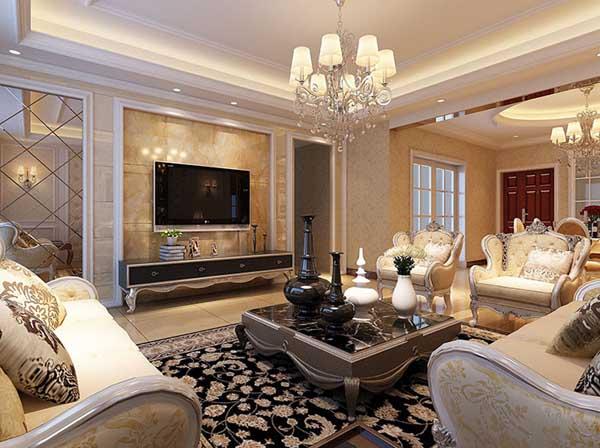 欧式 三居 客厅图片来自上海潮心装潢设计有限公司在荣都公寓137平三室两厅简欧装修的分享