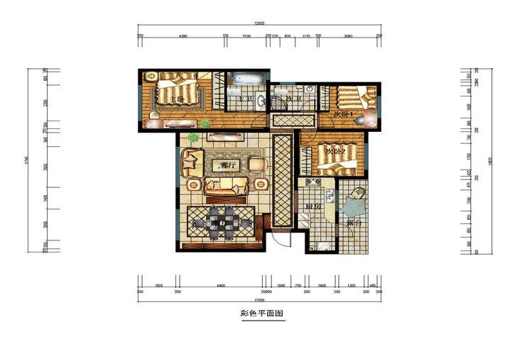 鲁能七号院 三居 美式风格 装修设计 户型图图片来自业之峰装饰旗舰店在木色淡雅的分享