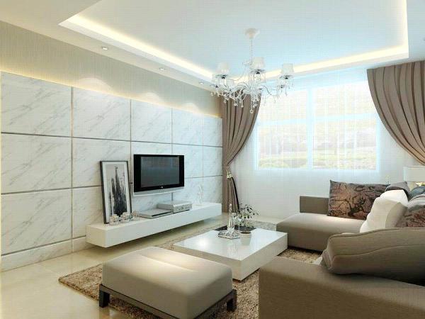 客厅的电视背景墙是由仿理石砖与素色壁纸组成,理石砖的背面还加了一条灯带,使房间既大方又不失雅致,沙发背景墙挂了三幅挂画,用来点缀白墙。