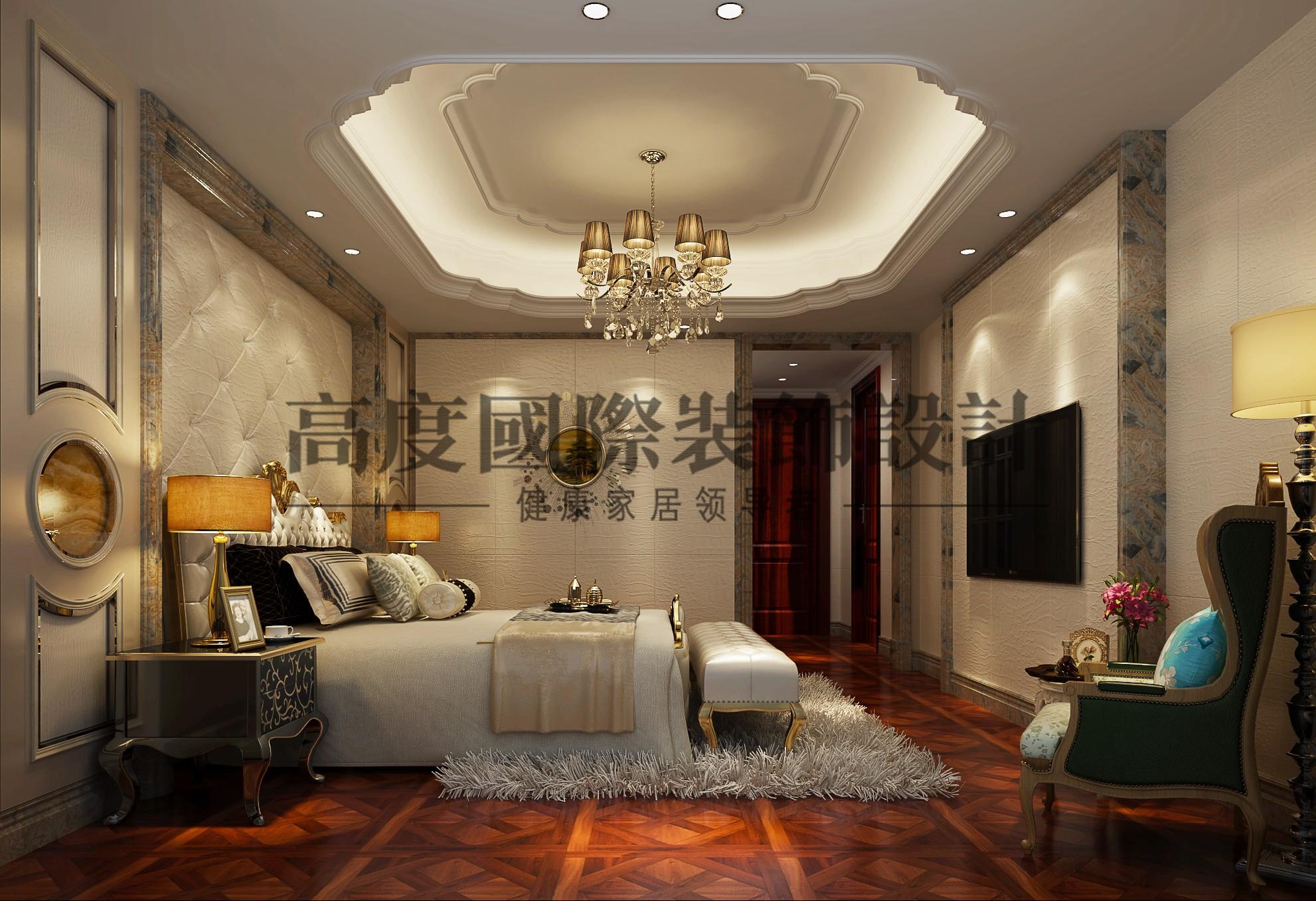 卧室图片来自别墅豪宅装修在保利康桥199平米欧式风格设计的分享
