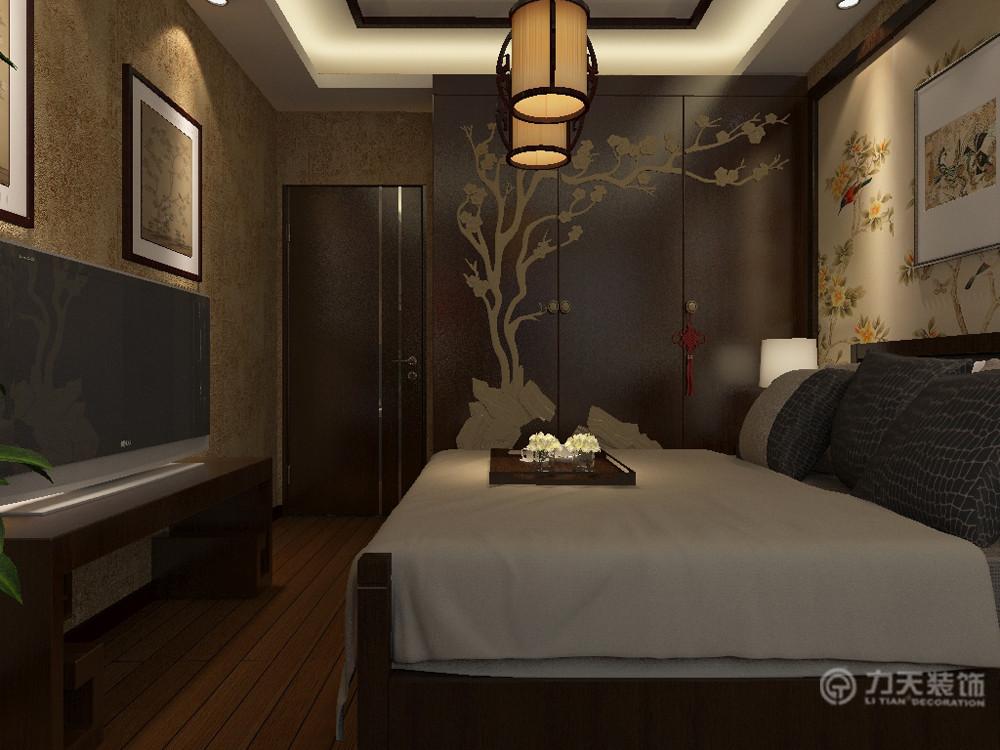 中式 三居 白领 80后 小资 收纳 吊顶 卧室图片来自阳光力天装饰在新中式 中信公园城 102㎡的分享
