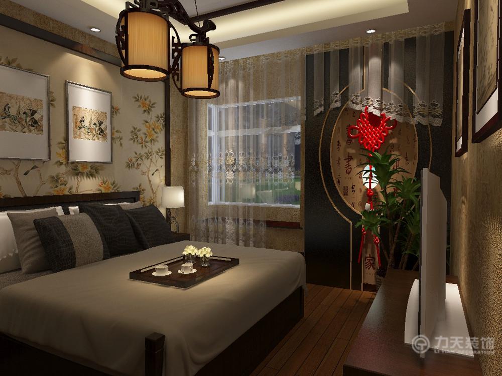 中式 三居 白领 80后 小资 收纳 背景墙 地板 卧室图片来自阳光力天装饰在新中式 中信公园城 102㎡的分享