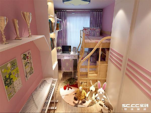 天真烂漫的6岁女孩,是家里的小公主。读书和弹古筝是女孩近几年的需要学习的功课。淡粉色是房间的背景色,白色是主题色。
