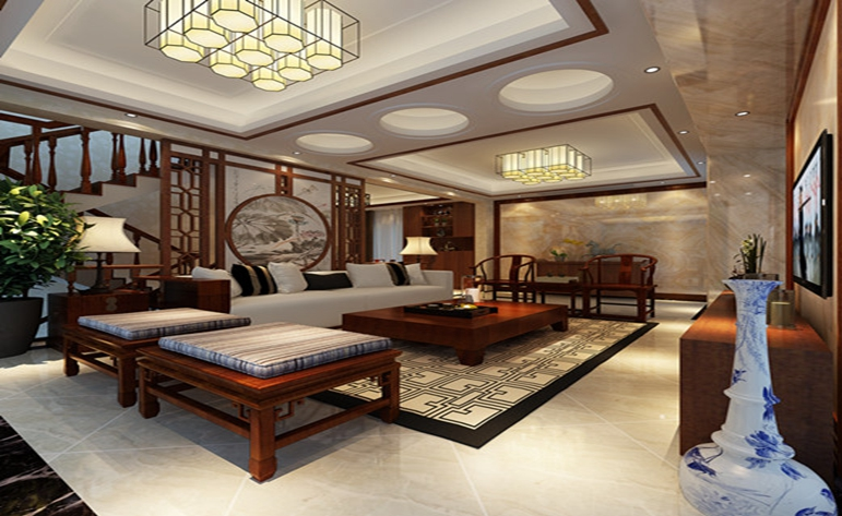 新中式 大气 典雅 复式 客厅图片来自居众装饰WX在九龙仓·碧玺-中式风格-230㎡的分享
