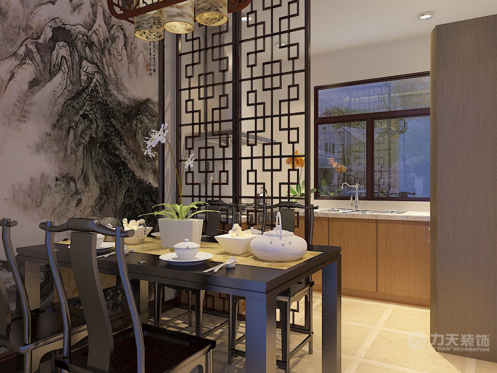 中式 三居 白领 80后 小资 收纳 推拉门 背景墙 餐厅图片来自阳光力天装饰在新中式 中信公园城 102㎡的分享