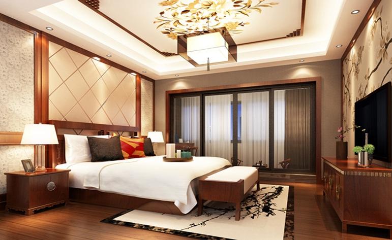 新中式 大气 典雅 复式 卧室图片来自居众装饰WX在九龙仓·碧玺-中式风格-230㎡的分享