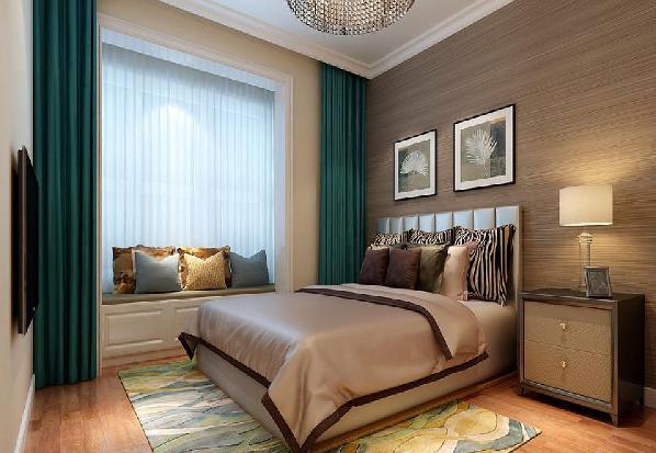 卧室休息的空间在局部的色调用生深咖色的作为背景色,这样色彩会使人安静放松休息的更好,在原结构的有飘窗利用飘窗做休闲区域,在私密的空间里安静的阅读