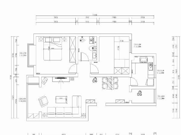 入户的左手是客厅,入户的右边是餐厅,入户对面是小过道,过道的俩边是两个卧室,对面是卫生间,过道的左面是主卧,过道的对面是卫生间,卫生间的空间大小适中,后期生活使用比较方便。
