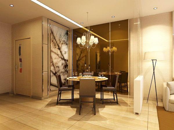 餐厅的茶镜扩大了整个空间,使空间具有延展性。隔断的利用,有效的使餐厅与客厅有了明显的分区。