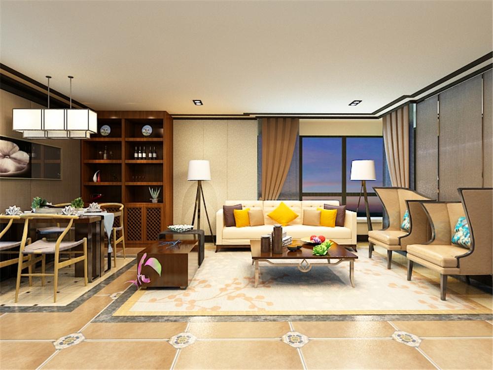 二居 新中式风格 大悦城 客厅图片来自阳光力天装饰在力天装饰-大悦城 -90㎡的分享
