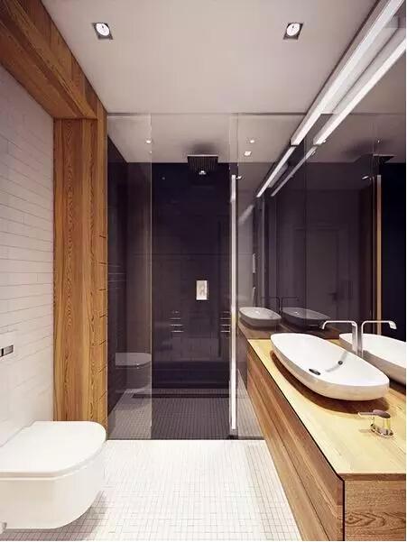 卫生间干湿分区看颜色就可区分开来,水箱入墙的悬挂式马桶是现代感卫生间的主流配置。