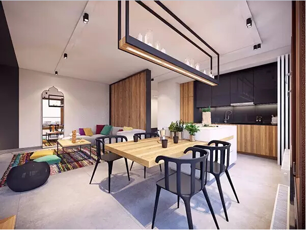 简约 后现代 餐厅图片来自实创装饰上海公司在80㎡大一居,开间也能变豪宅的分享