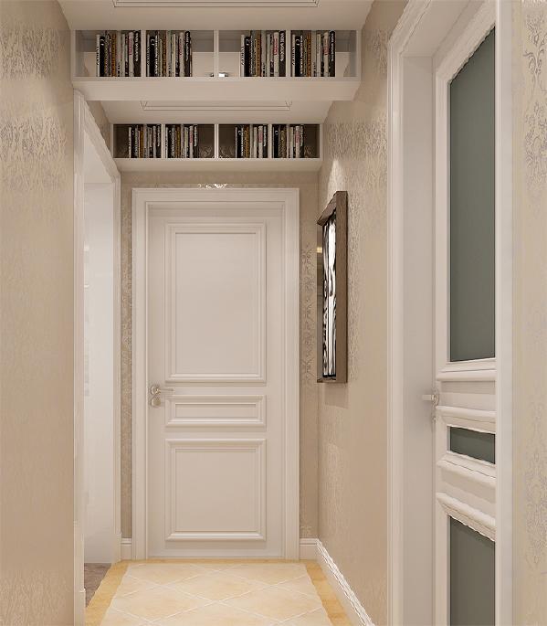 因为客户有很多的书籍,所以在设计中利用过道的空间在顶面做了书架增加使用功能。