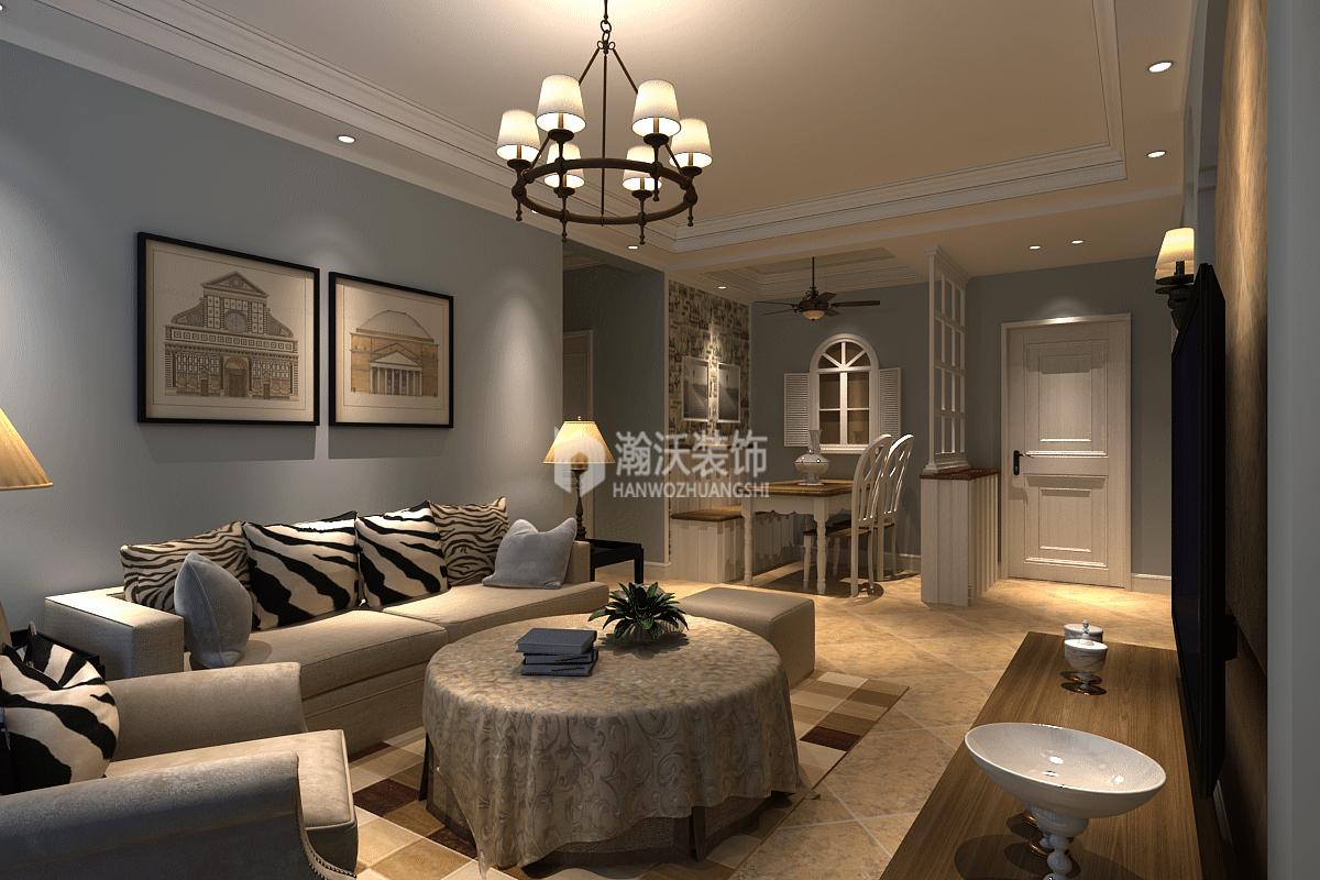 简美风格 星河盛世 三居 客厅图片来自河北瀚沃装饰在星河盛世124㎡简美风格案例的分享