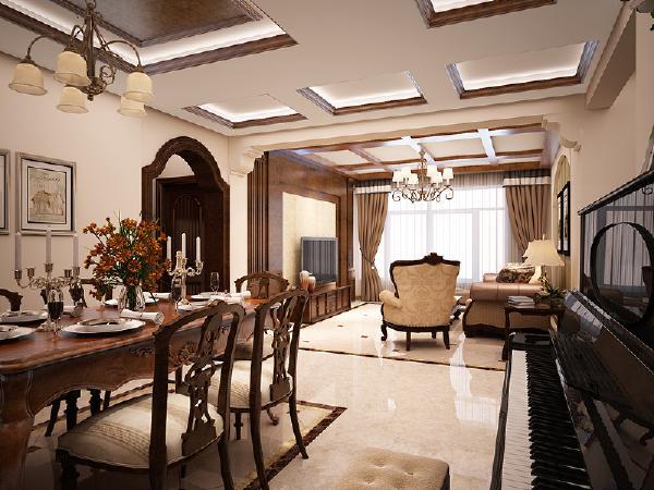 用地面拼花来分割餐厅与客厅空间,保持空间的通透,又区分空间。不同风格吊顶,统一又各具情调。