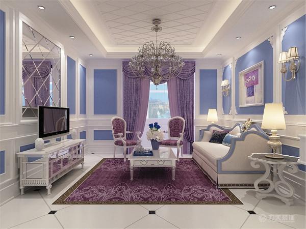 客厅里沙发背景墙用雕花和石膏板和石膏线,和蓝色背景墙的搭配下,浪漫清新之感铺面而来!沙发运用纯洁无知的白色,自由与本愿的蓝色所搭配使人觉得清新脱俗,茶几运用白色抛光的桌面。