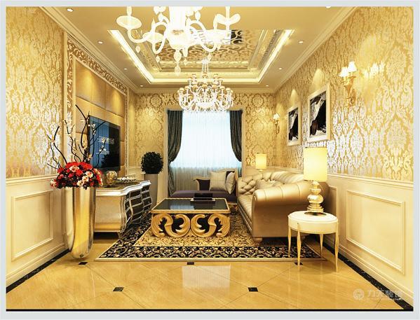 客厅里的地砖与客厅的绚丽天花所呼应,黑色玻璃面茶几鎏金茶几支架,弧形波浪似的造型,茶几角配有圆形花朵似得金色装饰,整个茶几面是一层神秘稳重的黑色,在黑色玻璃下面能看到精美镂空雕花设计,非常精美和大气。