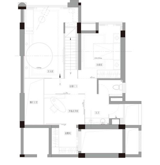 复式 三居 小资 户型图图片来自九鼎建筑装饰工程有限公司成都分在中德英伦联邦120平简约风的分享
