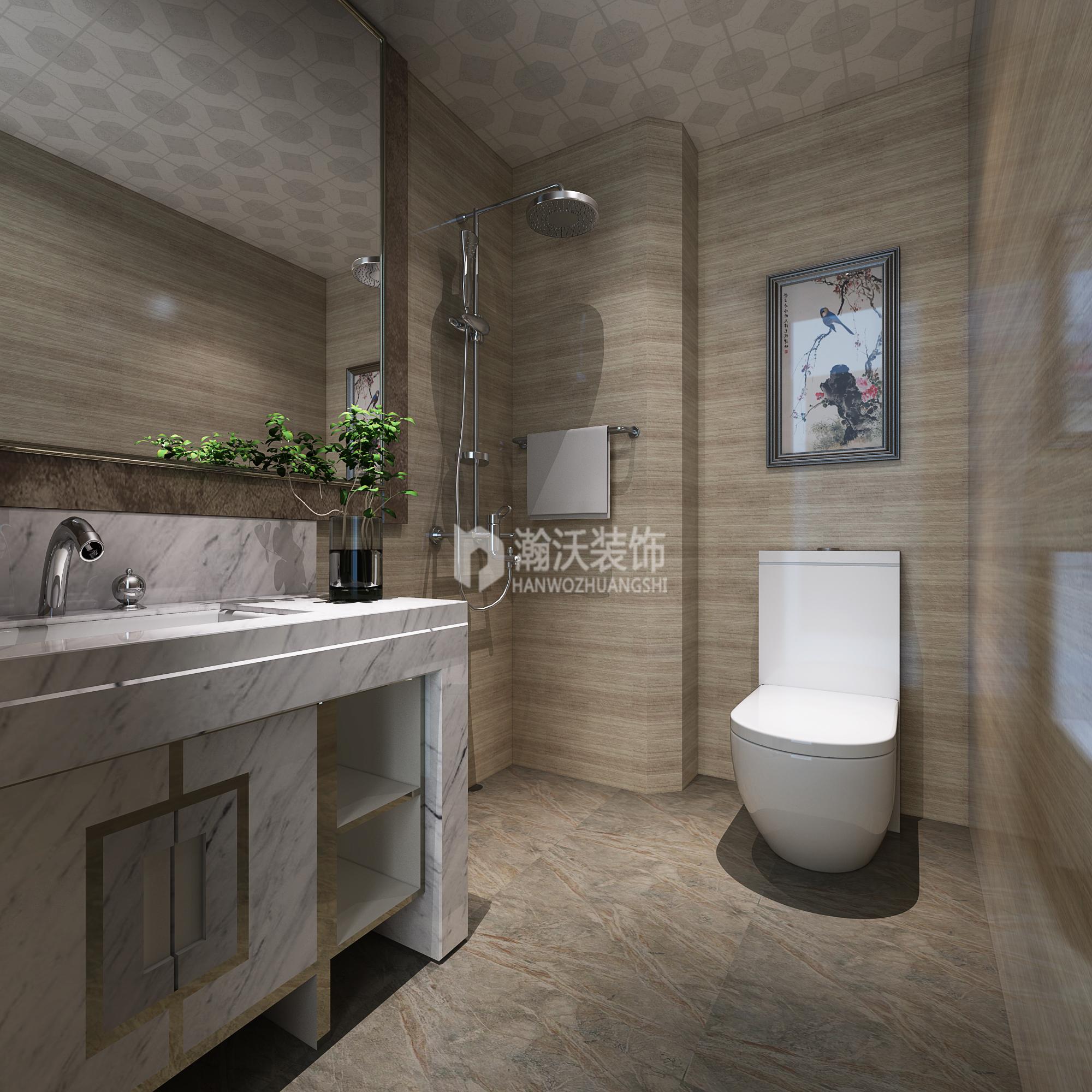 别墅 中式 龙华苑 卫生间图片来自河北瀚沃装饰在龙华苑中式案例的分享
