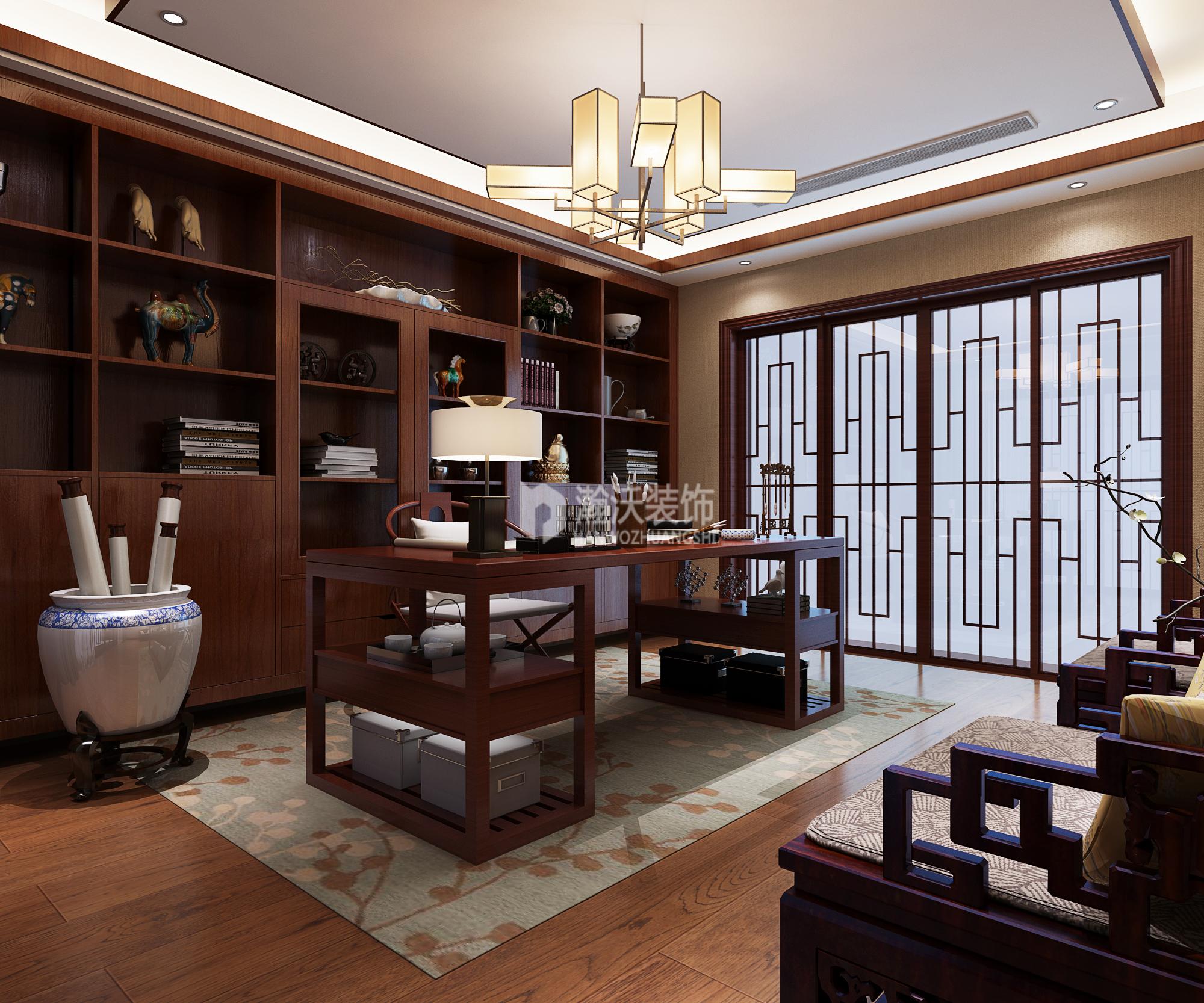 别墅 中式 龙华苑 书房图片来自河北瀚沃装饰在龙华苑中式案例的分享