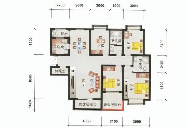 四居两厅两卫户型图