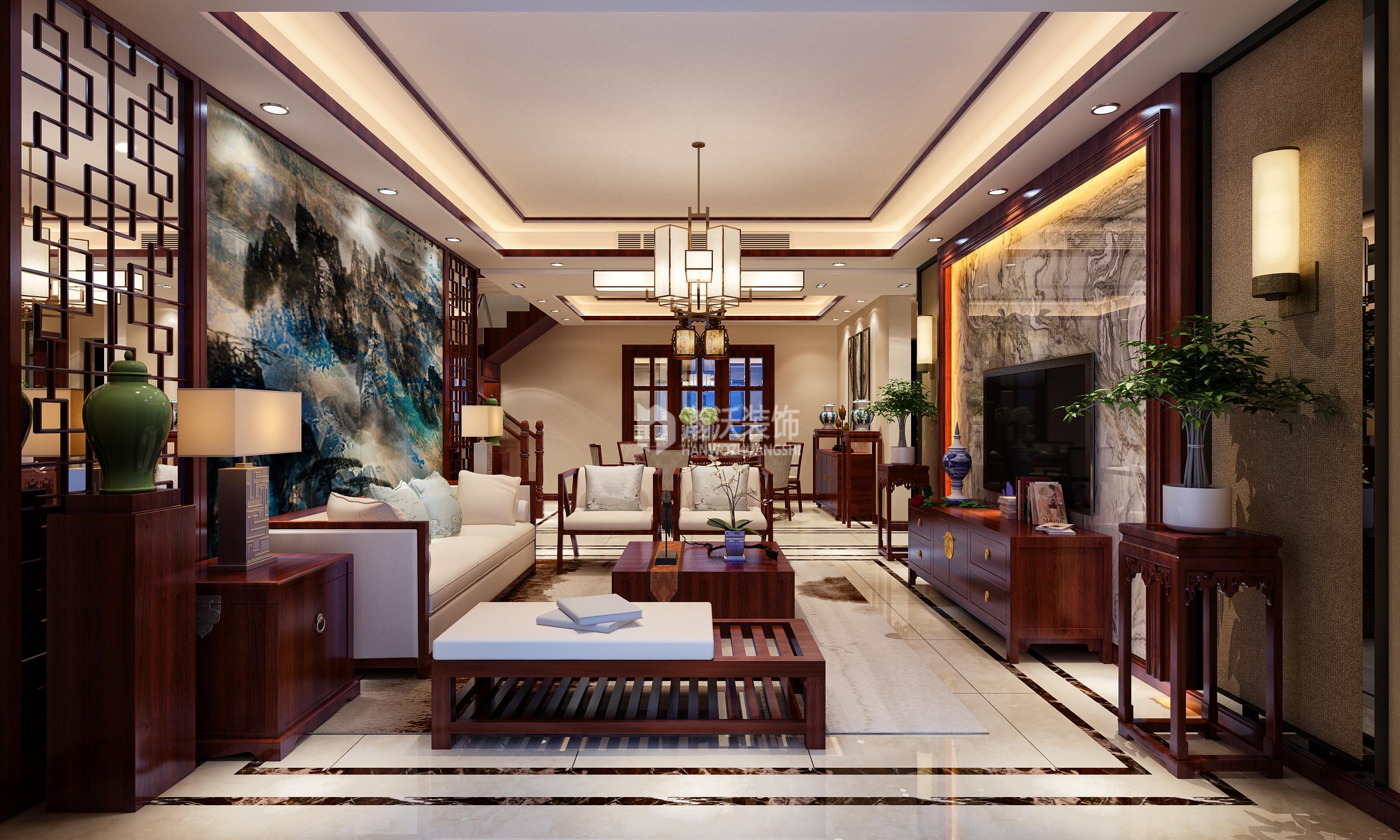 别墅 中式 龙华苑 客厅图片来自河北瀚沃装饰在龙华苑中式案例的分享