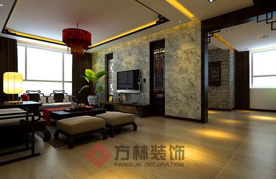 新中式 三居 白领 80后 小资 古典 深色系 客厅图片来自方林装饰在格林生活坊150平新中式案例的分享