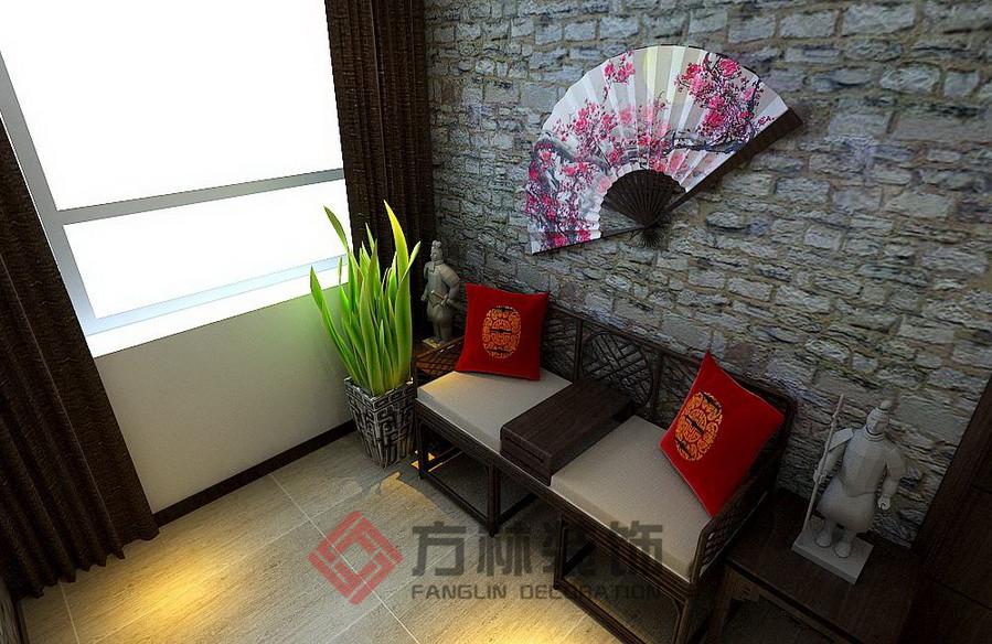 新中式 三居 白领 80后 小资 古典 深色系 阳台图片来自方林装饰在格林生活坊150平新中式案例的分享
