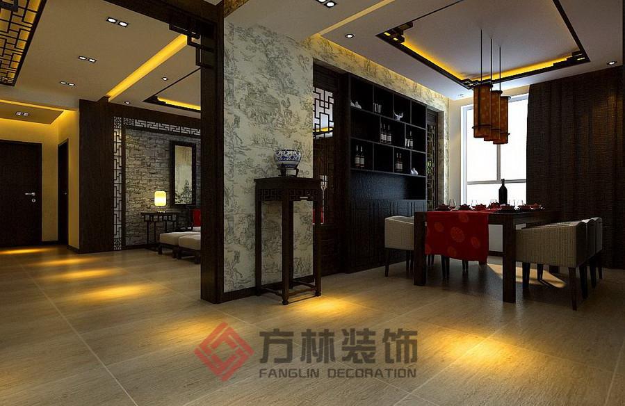 新中式 三居 白领 80后 小资 古典 深色系 餐厅图片来自方林装饰在格林生活坊150平新中式案例的分享
